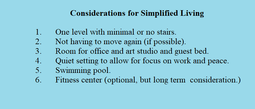 Considerations for Simplified Living