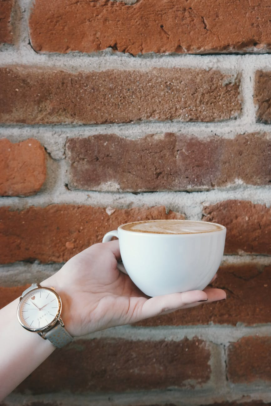 analog watch beverage brickwall coffee
