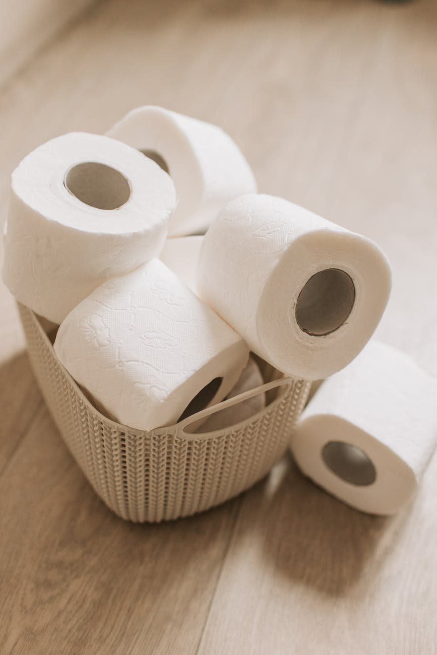 toilet paper rolls on a basket
