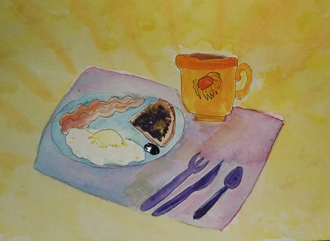 watercolor breakfast