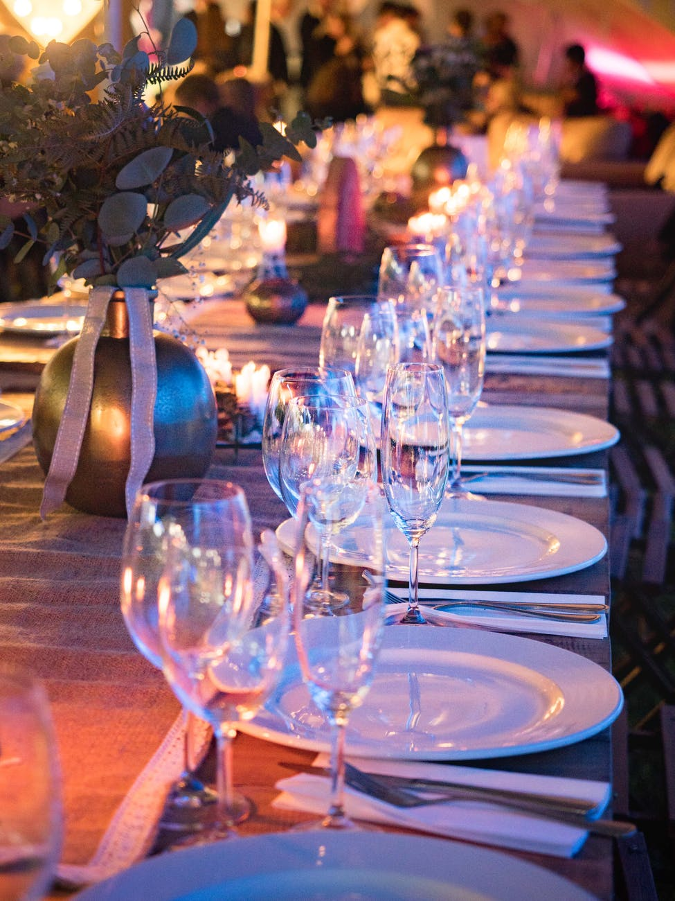 plates and wine glass on table